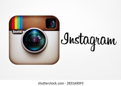KIEV, UKRAINE - MAY 26, 2015::Instagram logotype camera icon on pc screen. Instagram - free application for sharing photos and videos with the elements of a social network.