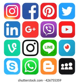 Kiev, Ukraine - May 26, 2016: Collection of popular social media logos printed on paper:Facebook, Twitter, Google Plus, Instagram, LinkedIn, Pinterest, Vine, Youtube and others