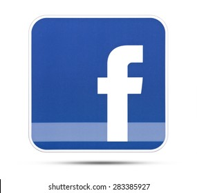 KIEV, UKRAINE - MAY 28, 2015: Facebook like logo for e-business, web sites, mobile applications, banners, printed on paper and placed on white background. Social network facebook sign on pc sign.