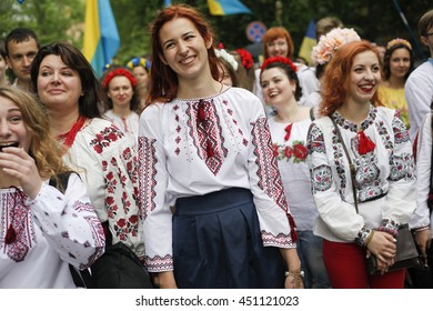 KIEV, UKRAINE - May 28, 2016: People dressed in traditional Ukrainian embroidered shirts take part in an embroidered shirt parade in central Kiev, Ukraine, May 28, 2016.