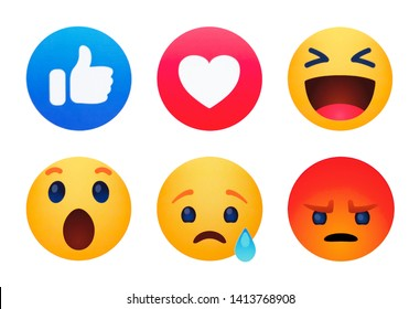 Kiev, Ukraine - May 29, 2019: New Facebook like button 6 Empathetic Emoji reactions printed on paper.Facebook is a known social networking service.