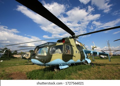 "Kiev, Ukraine - May 29th 2013: Exterior view of the first version of the famous Mil Mi-24 ""Hind"" attack helicopter, the Mil Mi-24A ""Stakan"", at the Zhulyany State Aviation Museum"