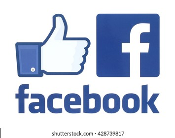 Kiev, Ukraine - May 30, 2016: Collection of facebook logos printed on white paper. Facebook is a well-known social networking service.