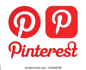Kiev, Ukraine - May 30, 2016: Pinterest logos printed on white paper. Pinterest is photo sharing website.
