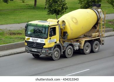 Kiev, Ukraine - May 30, 2016.Yellow concrete mixers truck Mercedes-Benz Actros
