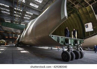 KIEV, UKRAINE - May 31, 2016: President of Ukraine Petro Poroshenko visited the factory Antonov and congratulated the workers of the plant on its 70th anniversary