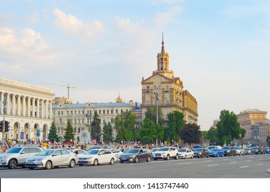 KIEV, UKRAINE - MAY 31, 2019: Traffic jam on a road on Khreschatyk street - the main street of Kiev.