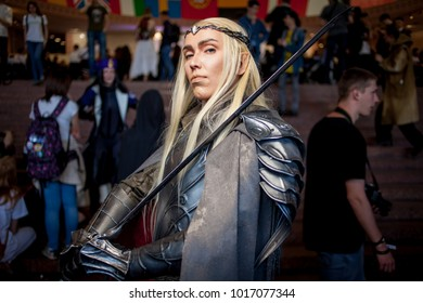 Kiev, Ukraine - May 6, 2017: Kiev Comic Con, an annual fandom convention in Kiev, Ukraine. Young people in costumes during the festival of Kiev comics. Cosplay Marvel, DC. Cosplayers in costumes.