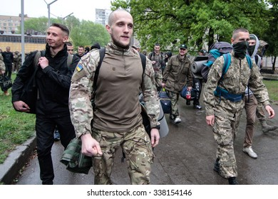 "KIEV, UKRAINE - May 7, 2015: Ukrainian recruits volunteer battalion ""Azov"" sent to serve in the area of anti-terrorist operation from training base in Ukraine's capital"