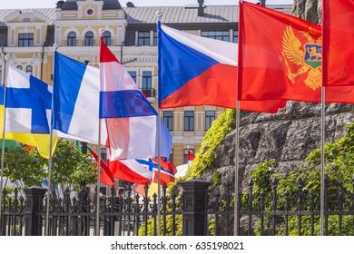 KIEV, UKRAINE - MAY 7, 2017: flags of European countries in Eurovision fan zone in Kiev, Ukraine, 2017