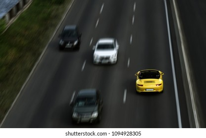 Kiev, Ukraine – May 7 : Porsche carrera S Drive on the Wrong Side of the Road  on 07/05/2018 in Kiev