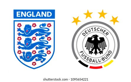 Kiev, Ukraine - May 8, 2018: Set of top nationals football team logos, England and Germany.
