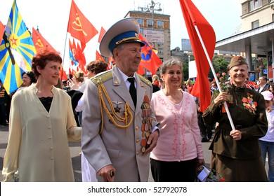 KIEV, UKRAINE - MAY 9: Ceremonial parade at Kiev main street - Khreshchatyc - dedicated to the 65th Anniversary of victory in Great Patriotic War (World War II). Parade of victory on May 9, 2010 in Kiev, Ukraine.