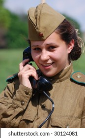 KIEV, UKRAINE - MAY 9: Members of history club called Red Star wear historical Soviet uniform as they participate in a WWII reenactment May 9, 2009 in Kiev, Ukraine