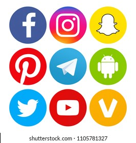 Kiev, Ukraine - May13, 2018: Set of most popular social media icons: Facebook, Twitter, YouTube, Pinterest, Instagram, Telegram, Snapchat, Android, Oovoo printed on paper.
