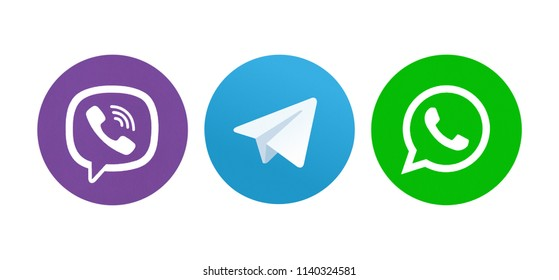 Kiev, Ukraine - May13, 2018: Set of most popular social media icons: Viber, Telegram, WhatsApp.