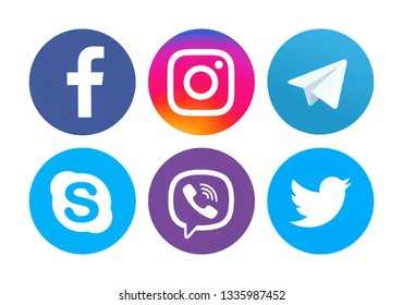 Kiev, Ukraine - May13, 2018: Set of most popular social media icons: Facebook, Twitter, Skype, Viber,  Instagram, Telegram printed on paper.