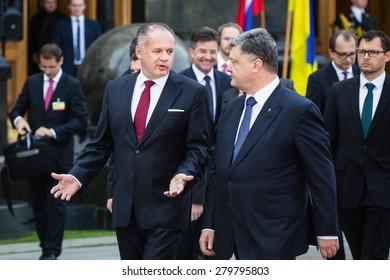 KIEV, UKRAINE - May.20, 2015: President of Ukraine Petro Poroshenko (R) and the President of the Slovak Republic Andrej Kiska during the official meeting in Kiev