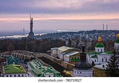 Kiev, Ukraine. Monument to Motherland, memorial, panoramic city view.