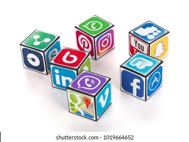 Kiev, Ukraine - Nobember 27, 2017: Cubes with logotypes of social media: Facebook, Skype, YouTube, App Store, Google Map, Viber, Vimeo, Linkedin, Snapchat, WhatsApp, Instagram, Twitter, Android, Uber.