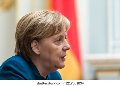 KIEV, UKRAINE - Nov 01, 2018: Federal Chancellor of the Federal Republic of Germany Angela Merkel during a meeting with President of Ukraine Petro Poroshenko