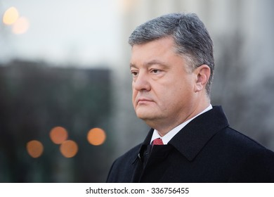 KIEV, UKRAINE - Nov 08, 2015: President of Ukraine Petro Poroshenko asked about the opening of the Memorial to Victims of Holodomor in Ukraine in 1932-1933 in Washington