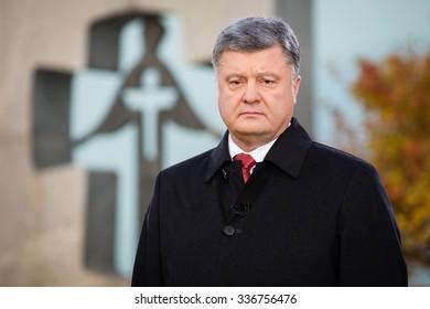KIEV, UKRAINE - Nov 08, 2015: President of Ukraine Petro Poroshenko asked about the opening of the Memorial to Victims of Holodomor in Ukraine in 1932-1933 in Washington