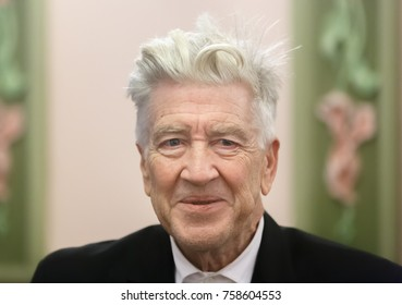 KIEV, UKRAINE - Nov. 18, 2017: Meeting with legendary American film director, screenwriter, producer and actor David Lynch who arrived in Ukraine to open an office of his charitable foundation