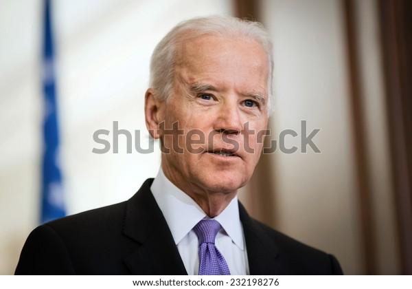 KIEV, UKRAINE - NOV 21, 2014:  Vice President of USA Joe Biden during a meeting with President of Ukraine  Petro Poroshenko in Kiev