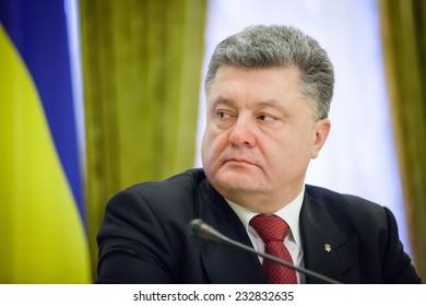 KIEV, UKRAINE - NOV 24, 2014: President of Ukraine Petro Poroshenko during an official meeting with the Lithuanian President Dalia Grybauskaite, in Kiev
