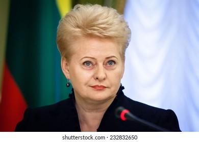 KIEV, UKRAINE - NOV 24, 2014: Lithuanian President Dalia Grybauskaite during an official meeting with the President of Ukraine Petro Poroshenko, in Kiev