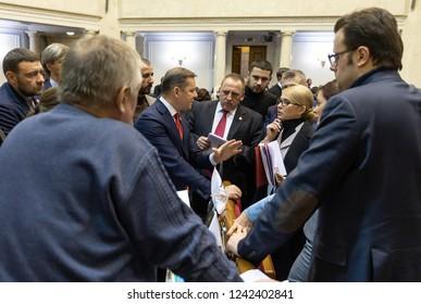 KIEV, UKRAINE - Nov. 26, 2018: Leader of radical party Oleg Lyashko during an extraordinary meeting of the Verkhovna Rada of Ukraine regarding the imposition of martial law in some regions of Ukraine