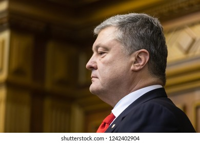 KIEV, UKRAINE - Nov. 26, 2018: President of Ukraine Petro Poroshenko during an extraordinary meeting of the Verkhovna Rada of Ukraine regarding the imposition of martial law in some regions of Ukraine