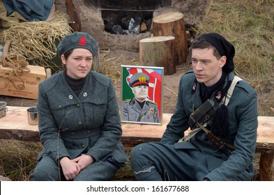 KIEV, UKRAINE -NOV 3 An unidentified members of Red Star history club wear historical Italian uniform during historical reenactment of WWII, Battle for Kiev 1943 on November 3, 2013 in Kiev, Ukraine