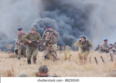 KIEV, UKRAINE -NOV 6: Unidentified members of Red Star history club wear historical Soviet uniform during historical reenactment of WWII, November 6, 2011 in Kiev, Ukraine