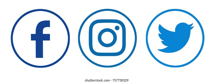Kiev, Ukraine - November 02, 2017: Set of popular social media icons printed on white paper: Facebook, Instagram, Twitter.