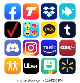 Kiev, Ukraine - November 02, 2019: New icons of popular social media Apps such as: Facebook, Find My Friends, Instagram, Tango, Dropbox, My Verizon, Uber, Walmart and others, printed on white paper