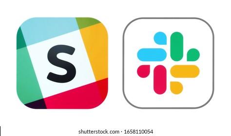 Kiev, Ukraine - November 02, 2019: Old and New icons of Slack app, printed on white paper. Slack is a cloud-based proprietary instant messaging platform developed by Slack Technologies