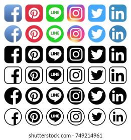Kiev, Ukraine - NOVEMBER 06, 2017: Collection of different popular social media icons printed on white paper: Facebook, Instagram, Linkedin, Pinterest, Twitter, Line