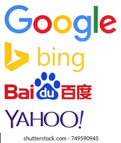 KIEV, UKRAINE - November 06, 2017: Collection of popular search engines logos printed on paper: Google, bing, baidu, yahoo
