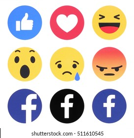 Kiev, Ukraine - November 07, 2016: New Facebook like button 6 Empathetic Emoji Reactions printed on white paper. Facebook is a well-known social networking service.