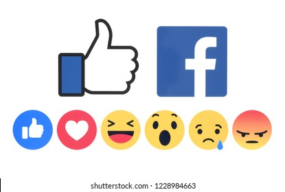 Kiev, Ukraine - November 07, 2018: New Facebook like button 6 Empathetic Emoji Reactions printed on white paper. Facebook is a well-known social networking service.