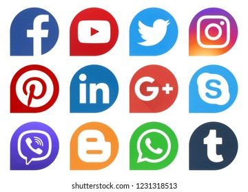 Kiev, Ukraine - November 07, 2018: Popular social media icons drops printed on paper: Facebook, Twitter, Instagram, Pinterest, LinkedIn, Viber, Tumblr and others
