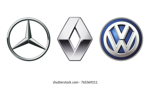 Kiev, Ukraine - November 09, 2017: Collection of popular car logos printed on white paper: Mercedes Benz, Volkswagen and Renault