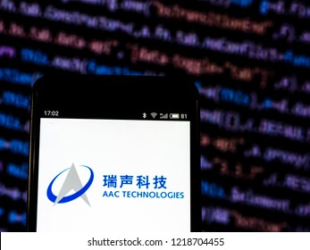 KIEV, UKRAINE - November 1, 2018: AAC Technologies Holdings Inc. Other electronic component manufacturing company logo seen displayed on smart phone.