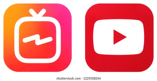 KIEV, UKRAINE - November 10  2018: This is a photo collection of popular social media logos printed on paper: Youtube and Instagram IGTV