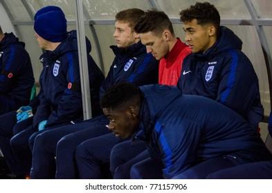 KIEV, UKRAINE - November 10: Bench of England's reserve players during the qualifying match of the European Youth Championship 2019 between Ukraine U21 0-2 England U21, 2017, Ukraine