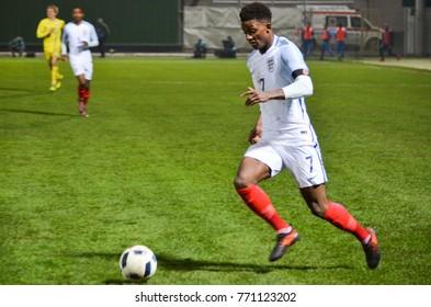 KIEV, UKRAINE - November 10: Demarai Gray during the qualifying match of the European Youth Championship 2019 between Ukraine U21 0-2 England U21, 2017, Ukraine