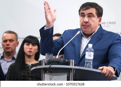 KIEV, UKRAINE - November 11, 2016: Georgian and Ukrainian politician Mikheil Saakashvili during a news conference in Kiev, Ukraine.