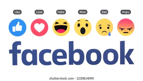 Kiev, Ukraine - November 12, 2018: New Facebook logo with like button and Empathetic Emoji Reactions printed on white paper.
